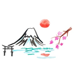 Mount fuji and sakura in japan vector