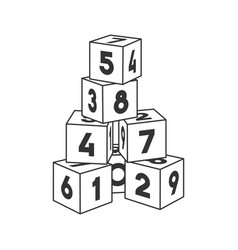 outline block building tower with numbers vector image