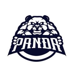 Panda mascot logo design silhouette version vector