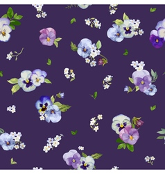 Pansy Flowers Background - Seamless Floral Shabby vector