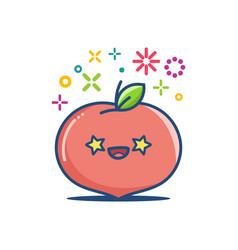 Peach kawaii emoticon cartoon vector