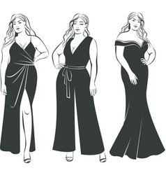 plus size woman model wearing evening gown vector image