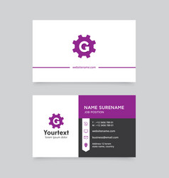 Purple color modern business card design vector