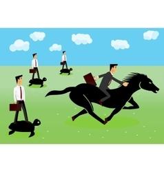 Racing - businessmen riding a horse vector