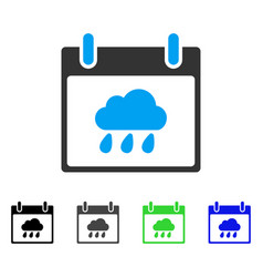Rain cloud calendar day flat icon vector