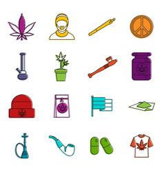 Rastafarian icons doodle set vector