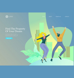 Real estate landing page template investment in vector