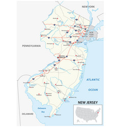 Road map us american state new jersey vector