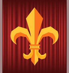 royal flower fleur de lys logo on curtain vector image