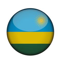 Rwanda flag in glossy round button of icon rwanda vector