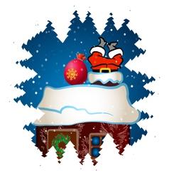 Santa claus climbs chimney vector