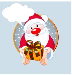 Santa giving a gift vector