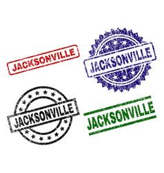 Scratched textured jacksonville stamp seals vector