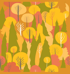 seamless autumn forest pattern fall vector image