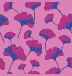 Seamless pattern ginko wax with purple vector