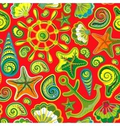 Seashell seamless pattern - vector image