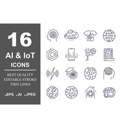 set of 16 quality icons about ai iotfuture vector image