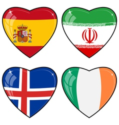 Set of images of hearts with the flags of iran vector