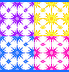 Set of seamless patterns of yellow purple blue vector