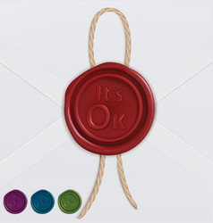 set of wax seals its ok vector image