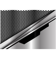 silver black line plate on hexagon mesh vector image