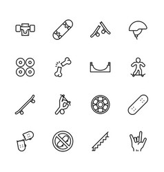 simple icon set skateboarding and youth sport vector image