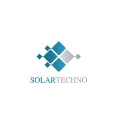 Square solar technology logo vector