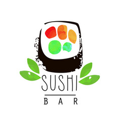 sushi bar logo template japanese food emblem vector image
