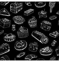 Sweet pastries on chalkboard vector image