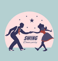 Swing dance couple silhouette vector