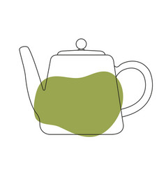 Teapot with spots black linear vector