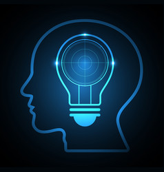 technology future radar light bulb head vector image