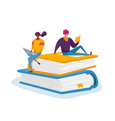 Tiny male and female characters reading and vector