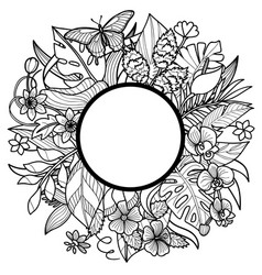 tropical round frame vector image