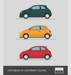 Urban vehicle hatchback in 3 different colors vector