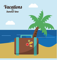 Vacations in paradise suitcase palm beach vector