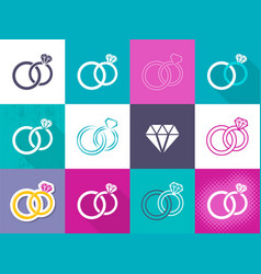 Various creative wedding rings icons vector
