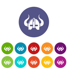 viking helmet icons set color vector image