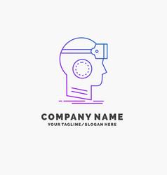 Vr googles headset reality virtual purple vector