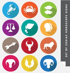 Zodiac horoscope signs in flat icon style vector