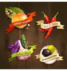 Herbs and spices badges set vector image vector image