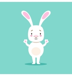 Little girly cute white pet bunny standing vector