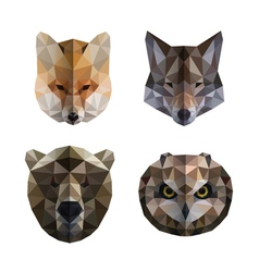 Polygonal animal heads vector image