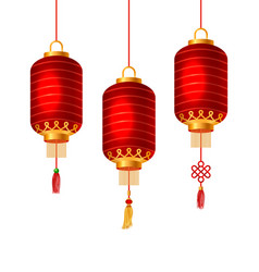 Set of red chinese lanterns for happy new year vector
