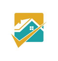 square home check logo vector image