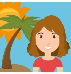 woman palm sun travel vector image