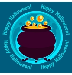 Happy halloween greeting card with moon and pot of vector image vector image