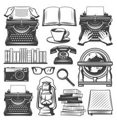 vintage writer elements set vector image vector image