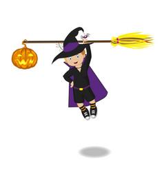 boy with broom vector image
