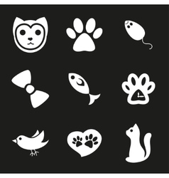 Cute cat icons set vector image